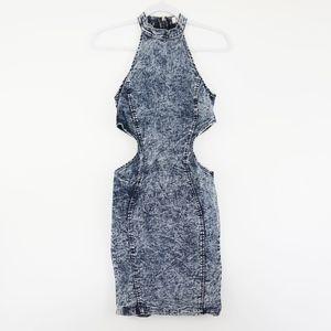 Denim high neck midi dress